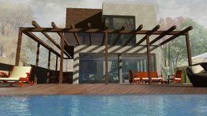 vivienda unifamiliar y piscina