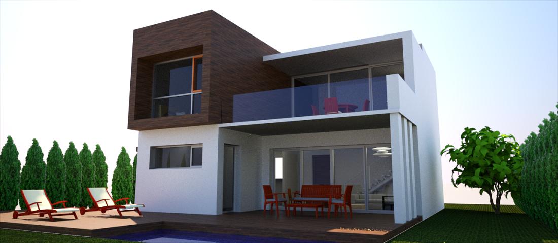 proyecto vivienda sostenible vista piscina