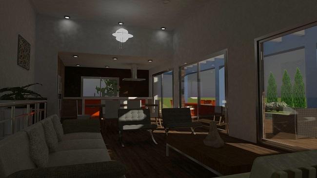 vista interior, proyecto de vivienda