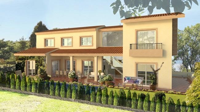 vista vivienda estilo clásico. proyecto de vivienda