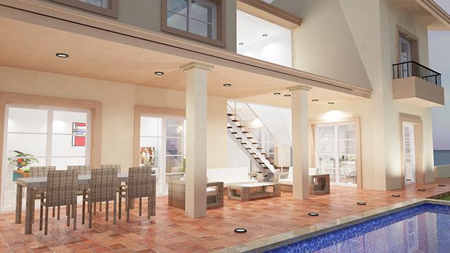proyecto de vivienda clásica, vista piscina