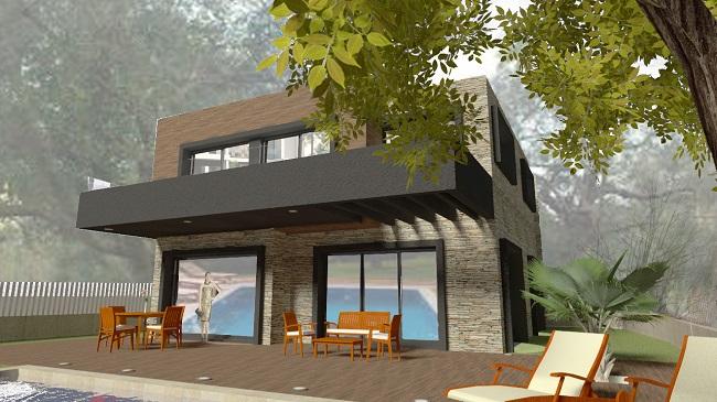 proyecto vivienda unifamiliar con piscina