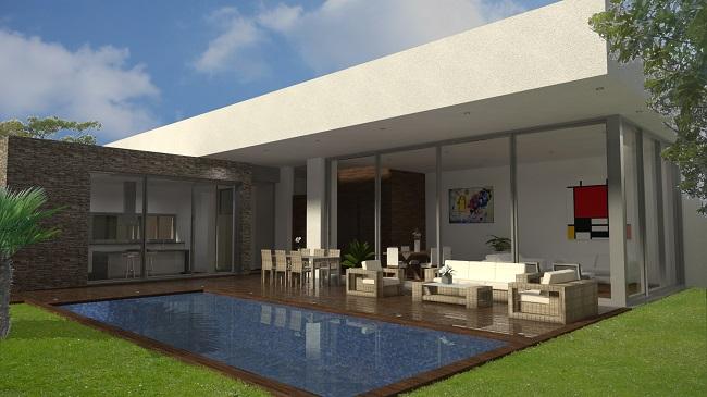 vista piscina proyecto de vivienda