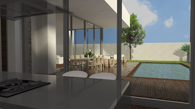 proyecto vivienda vista piscina exterior