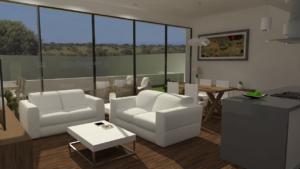 Interior de vivienda, vista del estar comedor