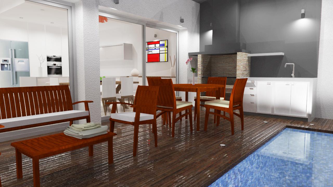 patio de vivienda con piscina