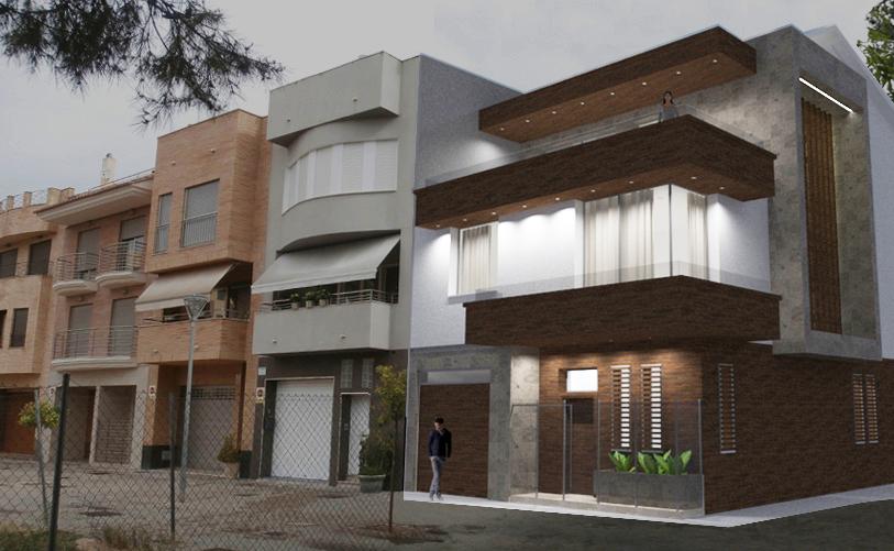 Fachada de vivienda entre medianeras, estilo contemporaneo